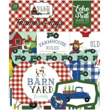 Echo Park Down On The Farm Cardstock Die-Cuts 33/Pkg - Frames & Tags
