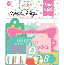 Echo Park Lets Party Cardstock Die-Cuts 33/Pkg - Frames & Tags