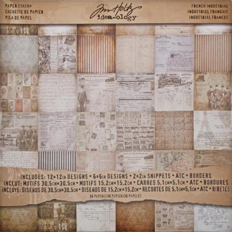 Tim Holtz Idea-Ology Paper Stash Paper Pad 12X12 36/Sheets - French Industrial