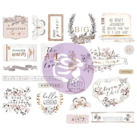 Prima Marketing Chipboard Stickers 21/Pkg - Pretty Pale