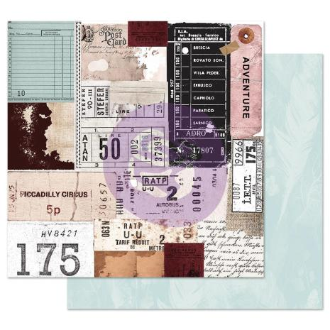 Prima Midnight Garden Double-Sided Cardstock 12X12 - Traveling Tickets
