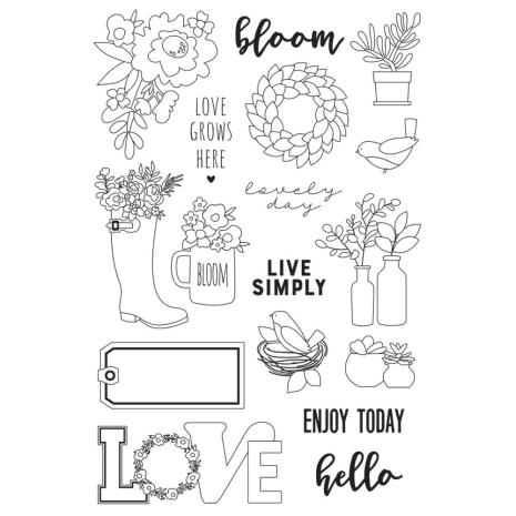 Simple Stories Spring Farmhouse Clear Stamps 4X6 - Live Simply