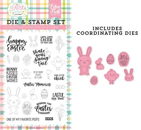 Echo Park Easter Wishes Clear Stamp & Dies - Easter Memories UTGÅENDE