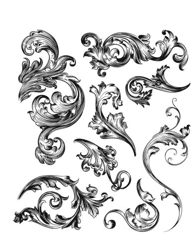 Tim Holtz Cling Stamps 7X8.5 - Scrollwork
