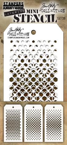 Tim Holtz Mini Layered Stencil Set 3/Pkg - Set #39