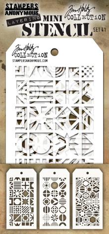 Tim Holtz Mini Layered Stencil Set 3/Pkg - Set 41