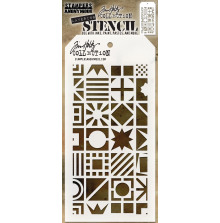 Tim Holtz Layered Stencil 4.125X8.5 - Patchwork Cube
