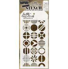 Tim Holtz Layered Stencil 4.125X8.5 - Patchwork Circle