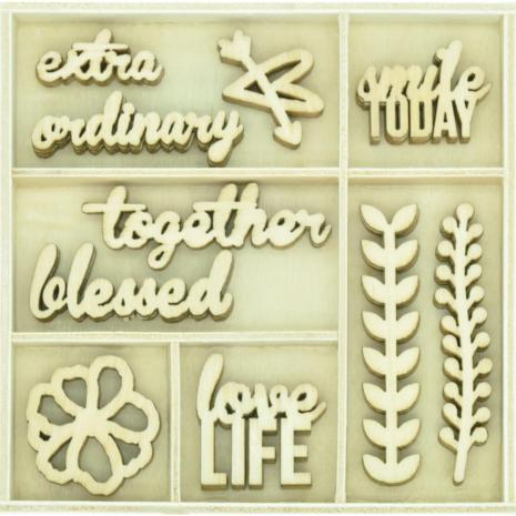 Kaisercraft Themed Mini Wooden Flourishes 50/Pkg - Love Life