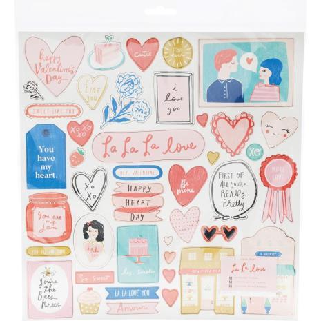 Crate Paper Chipboard Stickers 51/Pkg - La La Love
