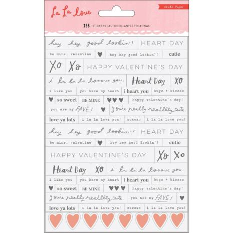 Crate Paper Phrase Stickers 128/Pkg - La La Love
