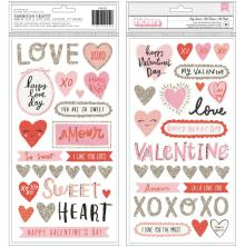 Crate Paper La La Love Thickers Stickers 61/Pkg La La Love - My Sweet Phrase & Icons/Foam & Cardstock