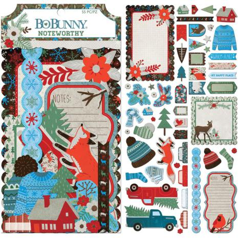 BoBunny Noteworthy Die-Cuts 55/Pkg - Winter Getaway