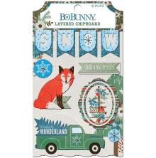 BoBunny Adhesive Layered Chipboard 10/Pkg - Winter Getaway