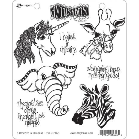 Dylusions Cling Stamps 8.5X7 - I Believe In Unicorns