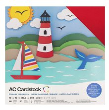 American Crafts Textured Cardstock Pack 12X12 60/Pkg - Primaries