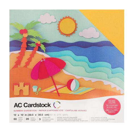 American Crafts Textured Cardstock Pack 12X12 60/Pkg - Summer