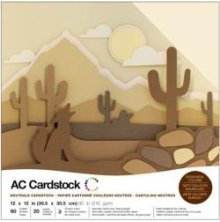 American Crafts Textured Cardstock Pack 12X12 60/Pkg - Neutrals