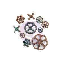 Prima Finnabair Mechanicals Metal Embellishments 10/Pkg - Rusty Knobs