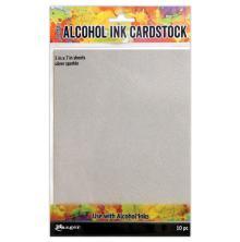 Tim Holtz Alcohol Ink Cardstock 5X7 10/Pkg - Silver Sparkle
