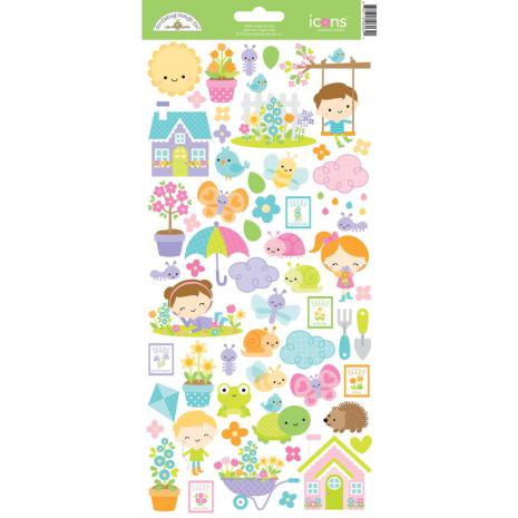 Doodlebug Cardstock Stickers Simply Spring - Icons