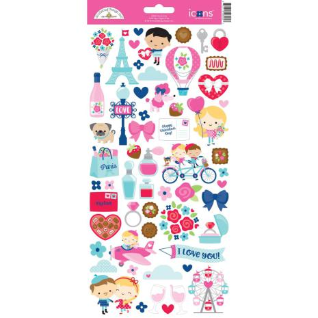 Doodlebug Cardstock Stickers French Kiss - Icons
