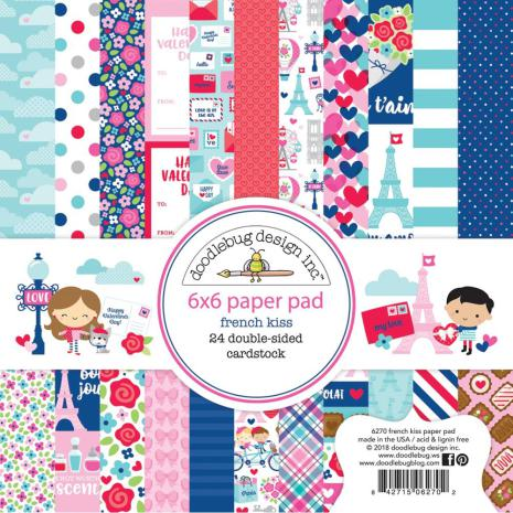 Doodlebug Double-Sided Paper Pad 6X6 24/Pkg - French Kiss