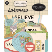Carta Bella Cartography No1 Cardstock Die-Cuts - Ephemera