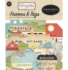 Carta Bella Cartography No1 Cardstock Die-Cuts - Frames & Tags