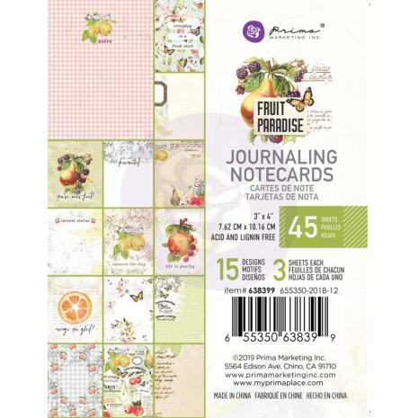 Prima Journaling Card 3X4 45/Pkg - Fruit Paradise
