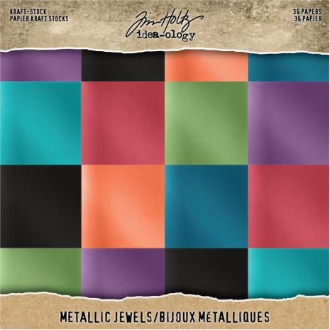 Tim Holtz Idea-Ology Kraft Metallic Paper Pad 8X8 36/Pkg - Jewels