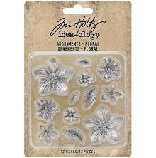 Tim Holtz Idea-Ology Metal Adornments 12/Pkg - Floral