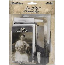 Tim Holtz Idea-Ology Found Relative Vintage Portraits 45/Pkg