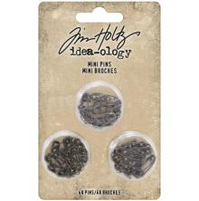 Tim Holtz Idea-Ology Mini Metal Safety Pins 48/Pkg