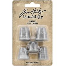 Tim Holtz Idea-Ology Metal Thimbles 5/Pkg - Mixed Sizes