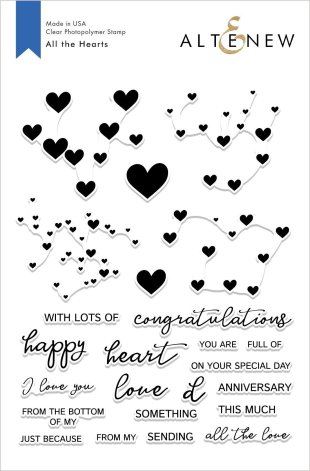 Altenew Clear Stamps 6X8 - All the Hearts