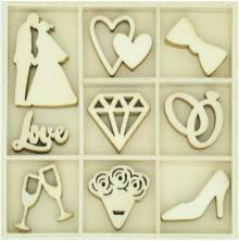 Kaisercraft Wood Mini Themed Embellishments- Forever & Always