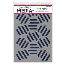 Dina Wakley Media Stencils 9X6 - Fractured Hexagons