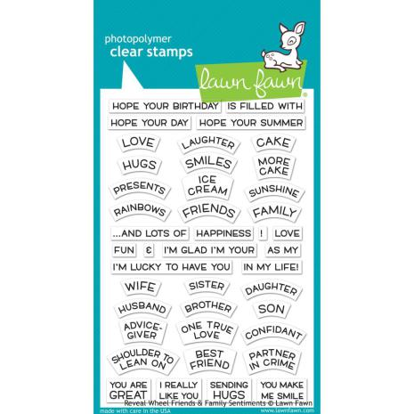 Lawn Fawn Clear Stamps 4X6 -Reveal Wheel Friends Family Sentiments