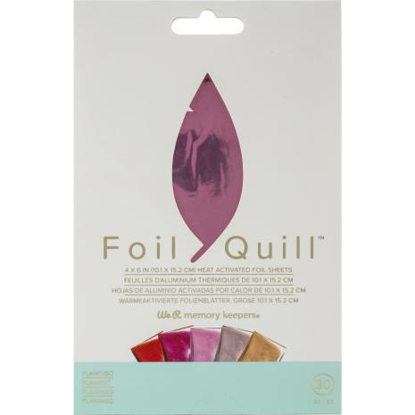 We R Memory Keepers Foil Quill Foil Sheets 4X6 30/Pkg - Flamingo