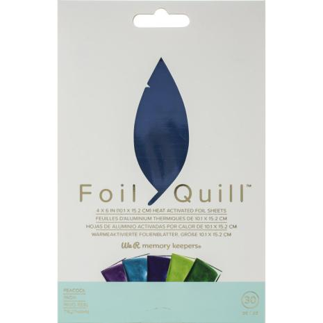 We R Memory Keepers Foil Quill Foil Sheets 4X6 30/Pkg - Peacock