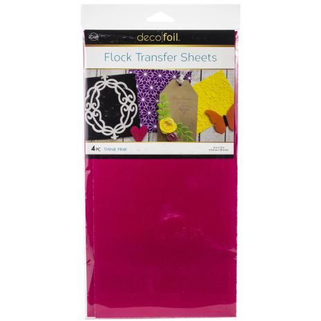 Deco Foil Flock Transfer Sheets 6X12 4/Pkg - Think Pink