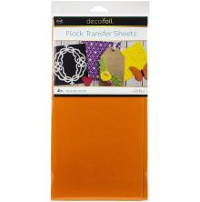 Deco Foil Flock Transfer Sheets 6X12 4/Pkg - Orange Glow