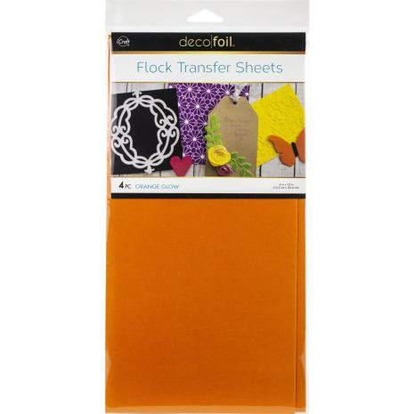 Deco Foil Flock Transfer Sheets 6X12 4/Pkg - Orange Glow