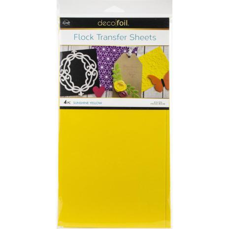 Deco Foil Flock Transfer Sheets 6X12 4/Pkg - Sunshine Yellow