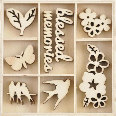 Kaisercraft Wood Mini Themed Embellishments - Morning Dew