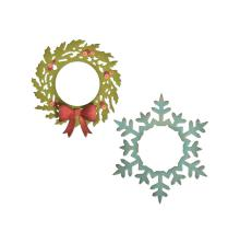 Tim Holtz Sizzix Thinlits Dies - Wreath & Snowflake  19-07