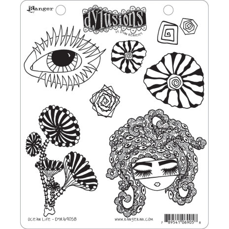 Dylusions Cling Stamps 8.5X7 - Ocean Life