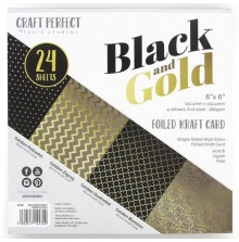 Tonic Studios Craft Perfect 6X6 Card Pack - Black & Gold 9434E