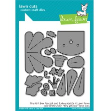 Lawn Fawn Custom Craft Die - Tiny Gift Box Peacock and Turkey Add-On